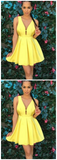 Yellow V-neck Straps Satin Pleat Short Sweetheart Homecoming Dress,JJ222