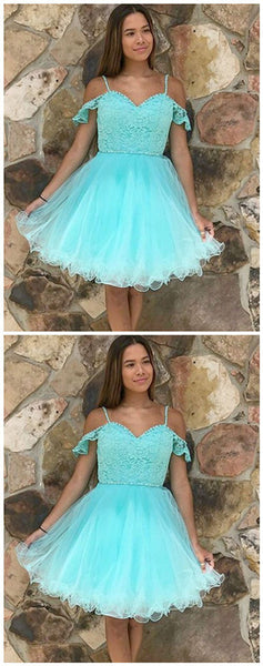 A-Line Cold Shoulder Mint Tulle Homecoming Dress with Lace,JJ224