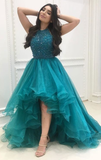 Organza with Beaded Bodice Halter High Low Prom Dress,Pageant Dress,JJ225