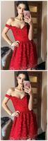fancy off shoulder red homecoming dresses, chic semi formal party gowns,JJ226