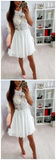Ivory Lace Beaded Spaghetti Strap Criss-cross Chiffon Freshman Homecoming Dresses,JJ233