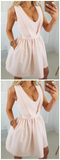 A-Line Homecoming Dress, Party Dresses Pink, V Neck Homecoming Dress,JJ235