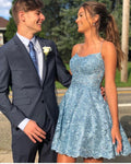 Fancy Sky Blue Lace Homecoming Dresses,Spaghetti Straps Homecoming Dresses,A-line Short  Dress,2452