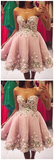 Great Pink Homecoming Dress, A-Line Prom Dress, Appliques Homecoming Dress, Prom Dress Short, JJ246