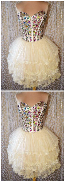 Custom Made Great Champagne Homecoming Dresses, Short Homecoming Dresses,JJ250