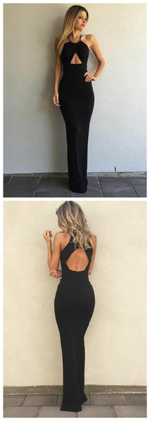 Simple Black Mermaid Evening Dress, Keyhole Front Open Back Prom Dress,JJ252