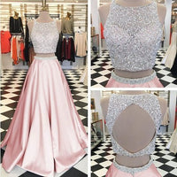 Pink Satin Two Piece Prom Dresses Ball Gowns Keyhole Back Evening Dress ,prom dress