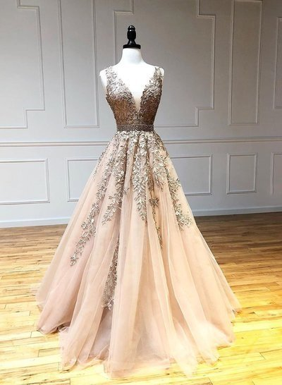 Champagne v neck tulle lace long prom dress tulle formal dress