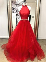 Red Tulle Satin Two Pieces Long Layered Prom Dress, Red Evening Dress from Sweetheart Dress ,B25