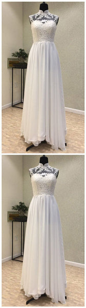 Elegant High Neck Lace Top and Chiffon Skirt,JJ260