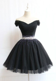 Beautiful Cute Charming Black Tulle V Neck Beaded Short Prom Dress, Black Homecoming Dress,JJ263