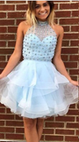 Charming Homecoming Dress Blue, Cute Homecoming Dress, High Neck Homecoming Dress,JJ265
