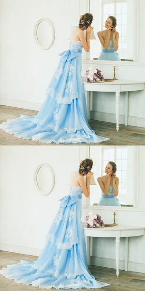 Elegant A-Line Strapless Sky Blue Sweep Train Prom/Evening Dress With Lace,prom dress,prom dress