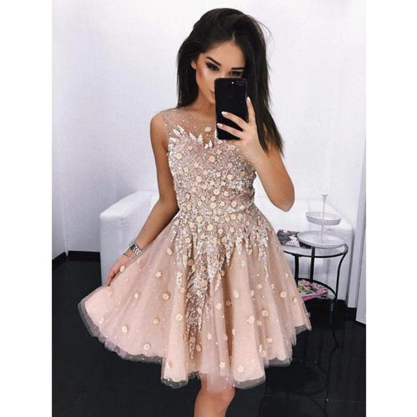 Gorgeous Pretty Unique Appique School Graduation Short Homecoming Dresses, JJ26