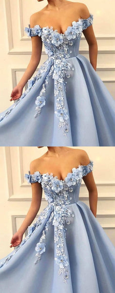 Blue off shoulder tulle lace long prom dress, blue lace evening dress,2721
