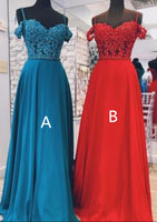 Fashion Appliques Off Shoulder A Line Prom Dress, Long Evening Dress with Straps,JJ274