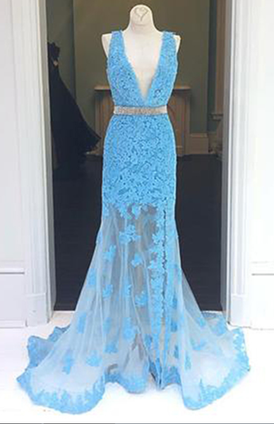 Charming Blue Appliques Mermaid Prom Dress, Blue Long Evening Dress, Formal Gown,JJ278