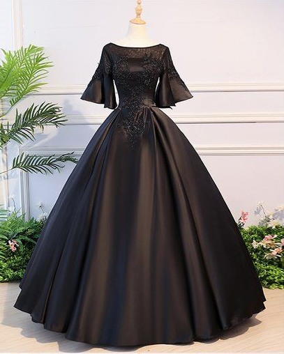 Black Satin Open Back Mid Sleeve Long Applique Evening Dress, Prom Dress,2783