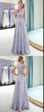 Vintage Tulle Appliques Floor Length Evening Dress, Long Prom Dress, Formal Gown,JJ279