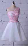 Beautiful Cute Round Neck Sleeveless Homecoming Dresses Lace Appliques Cocktail Dress,JJ280