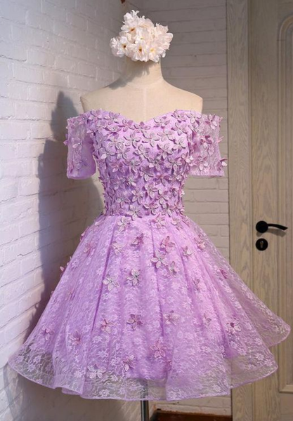 Stunning Gorgeous Hot Sale Homecoming Dresses Purple, Off The Shoulder Short Homecoming Dress,JJ281