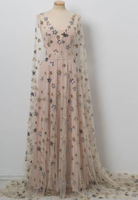 Pretty Charming Chic V neck Floor Length Stars Pink Prom Dresses,Long Evening Dress,JJ286