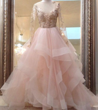 Gorgeous princess unique champagne pink tulle lace long prom dress, pink evening dress,JJ287
