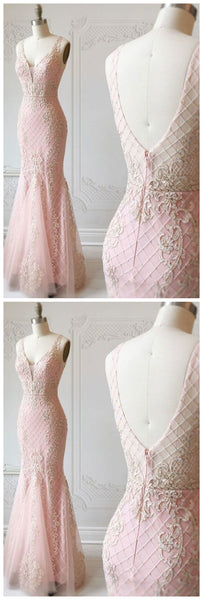 Stunning gorgeous pink v neck tulle lace mermaid long prom dress, pink evening dress,JJ289