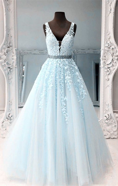 light blue ball gown prom dresses lace embroidery v neck