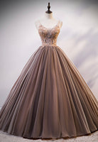 A line tulle lace long prom dress evening dress