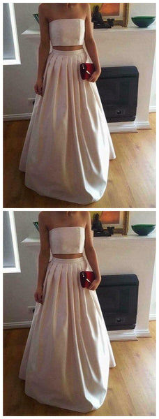 Gorgeous Two Piece Ivory Satin Party Dresses, Two Piece Prom Dresses,JJ294