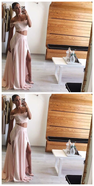 Lace Off Shoulder Prom Dress, Two Piece Chiffon Prom Party Dress, Long Slit Side Prom Dress,JJ295