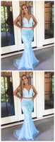 Charming Blue Two Piece Long Prom Dresses, Sexy Tulle Blue Evening Dress,JJ297
