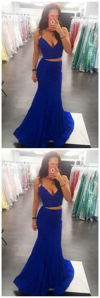 Sexy Two Piece Mermaid/Trumpet Royal Blue Lace Long Prom Dress,JJ298