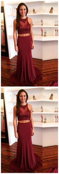Burgundy Two Piece Prom Dress Keyhole Back With Lace Appliques,JJ299