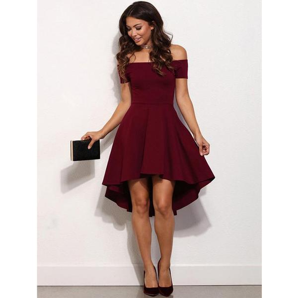 Burgundy Off the Shoulder High Low Simple Cheap Homecoming Dresses, JJ29
