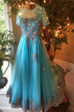 Dark turquoise organza see-through applique beading long prom dresses, evening dresses,B72