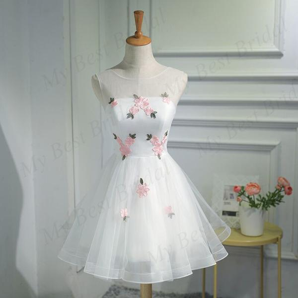 Cute A-line Organza White Sleeveless Lace-up Short Homecoming Dress ,JJ510