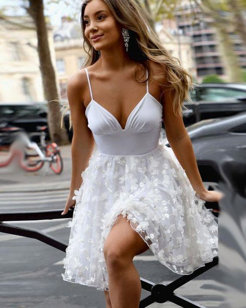 Spaghetti Straps White A-line Homecoming Dress with 3D Flower Skirt ,3086