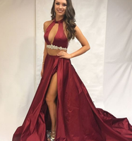Princess Prom Dresses Long, Burgundy Evening Dresses Two Piece, Modest Formal Dresses With Slit,JJ313