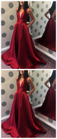 Simple V-neck Prom Dress Long, Evening Dress, Dance Dresses, Graduation School Party Gown,JJ317