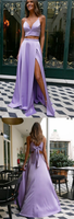 Simple Pretty Purple Prom Dress,A-Line Prom Gown,Satin Prom Dress,Two Pieces Prom Gown,JJ318