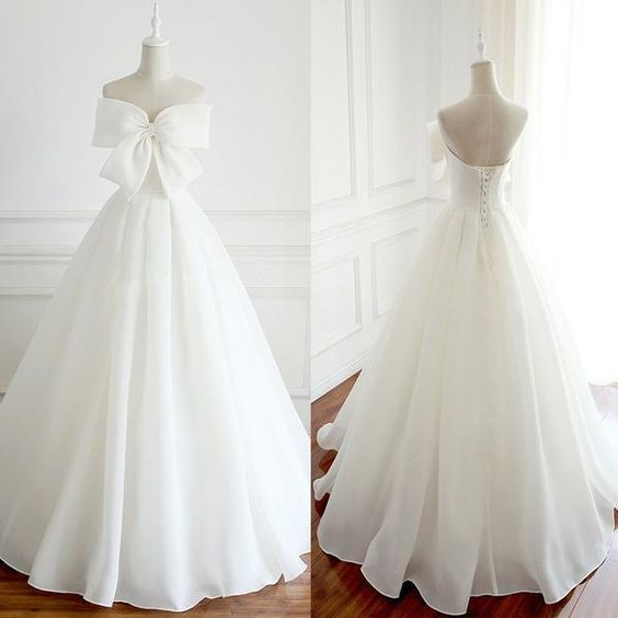 Newest Design Organza Bow A-line Lace Up Wedding Dresses, Chic Popular Wedding Dresses,prom dress