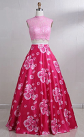 Hot Pink Floral Satin Two Pieces Lace Prom Dress, Fabulous Elegant Sleeveless Party Dress,JJ323