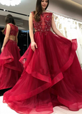 Gorgeous Red Ruffles Long Prom Evening Dress Beautiful Custom Made Charming Formal Dress,JJ325