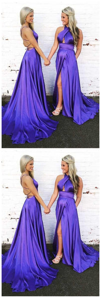 Gorgeous Halter Satin Long Prom Dress Evening Dress with Open Back,JJ329