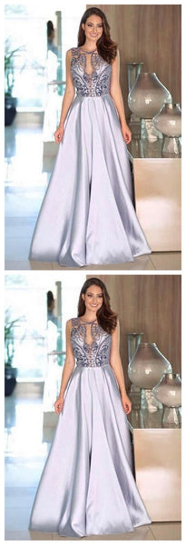 Modest Long A-line Beading Satin Sleeveless Elegant Prom Dresses Party Dresses,JJ335