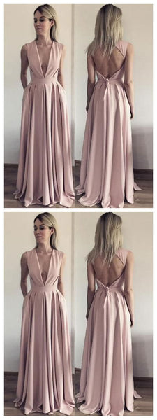 A Line Evening Dress, Open Back Evening Dresses, Deep V Neck Long Prom Dress,JJ336