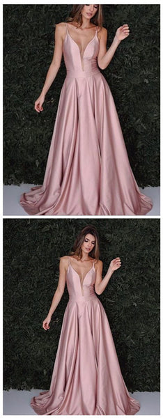 Blush Pink Prom Dress,Sexy Spaghetti Straps Party Dress,A line Sexy V-neckline Prom Gown,JJ339