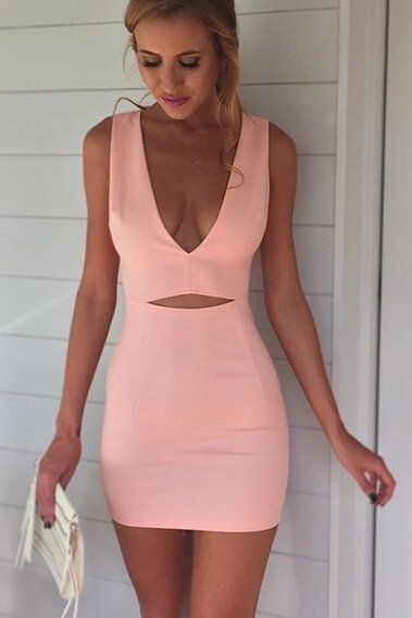 Sexy  Dress,V Neck  Dress,Sheath  Dress,homecoming dress,3414